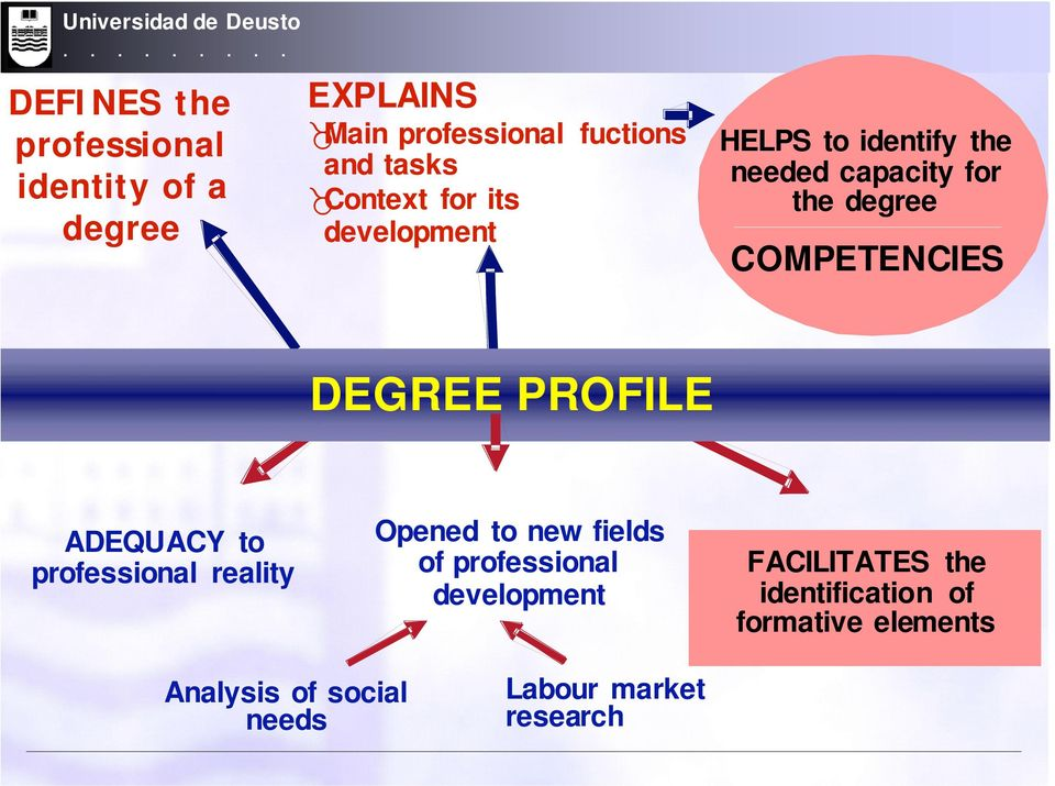 Context for its development HELPS to identify the needed capacity for the degree COMPETENCIES DEGREE