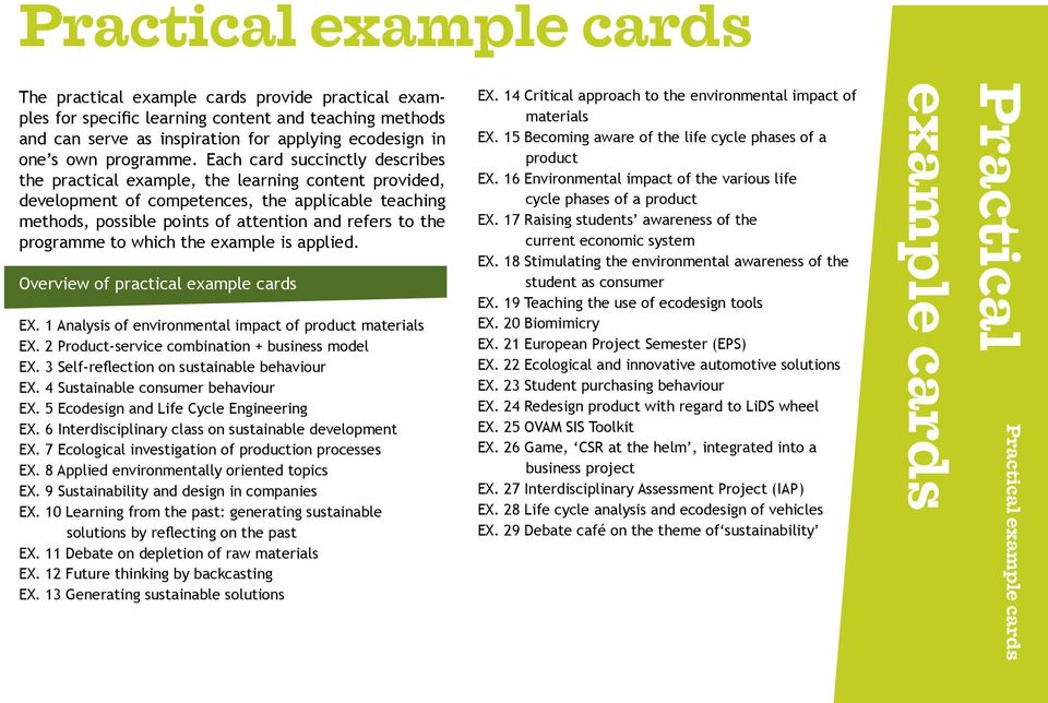 Each card succinctly describes the practical example, the learning content provided, development of competences, the applicable teaching methods, possible points of attention and refers to the