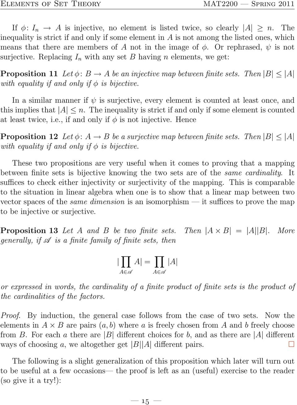Replacing I n with any set B having n elements, we get: Proposition 11 Let φ: B A be an injective map between finite sets. Then B A with equality if and only if φ is bijective.