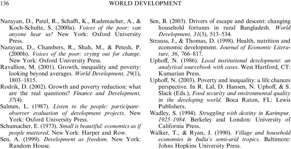 World Development, 29(1), 1803 1815. Rodrik, D. (2002). Growth and poverty reduction: what are the real questions? Finance and Development, 37(4). Salmen, L. (1987).