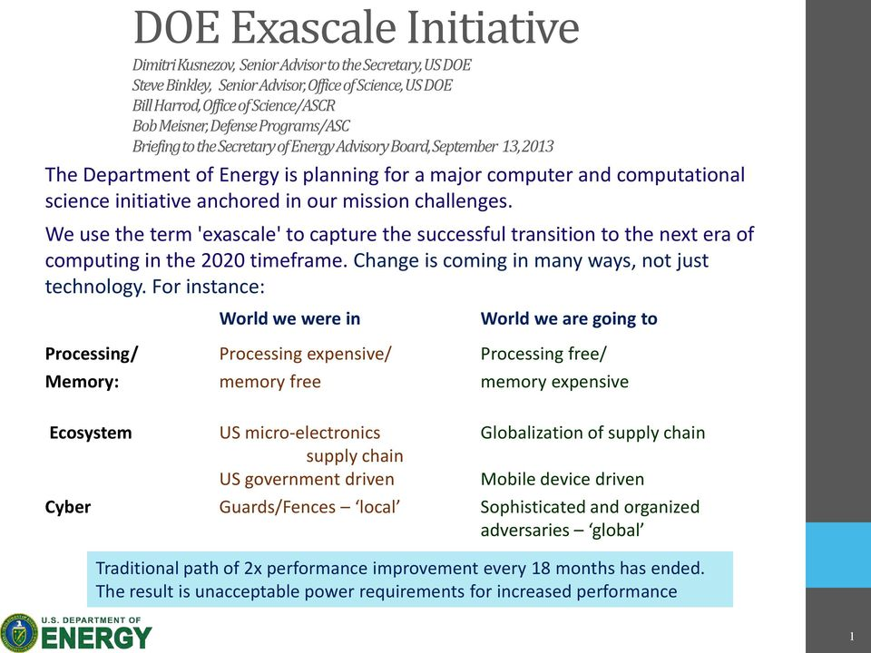 mission challenges. We use the term 'exascale' to capture the successful transition to the next era of computing in the 2020 timeframe. Change is coming in many ways, not just technology.