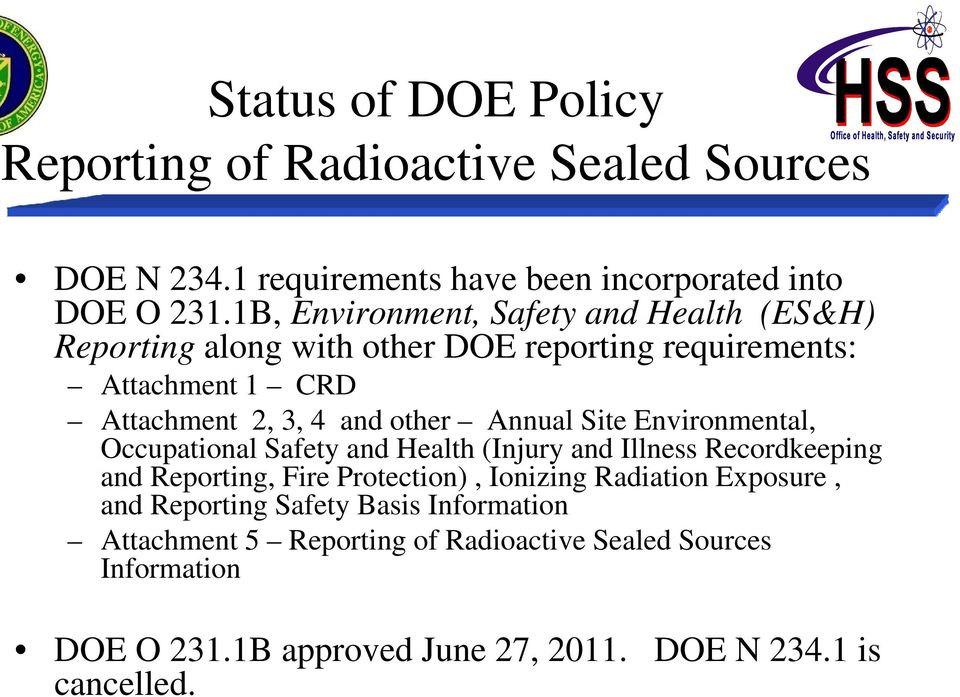 Annual Site Environmental, Occupational Safety and Health (Injury and Illness Recordkeeping and Reporting, Fire Protection), Ionizing Radiation