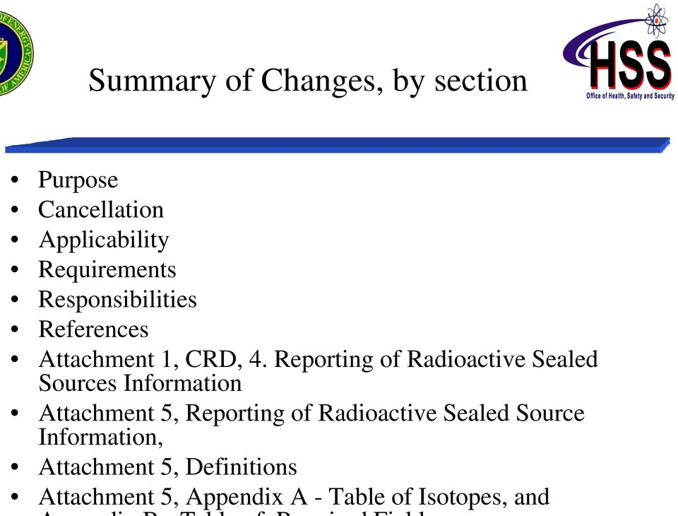 Reporting of Radioactive Sealed Sources Information Attachment 5, Reporting of