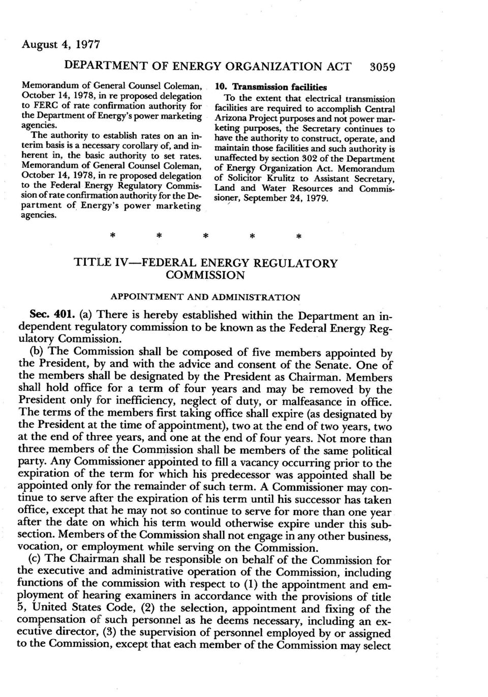Memorandum of General CounselColeman, October 14, 1978, in re proposed delegation to the Federal Energy Regulatory Commissionof rate confirmationauthority for the Department of Energy s power
