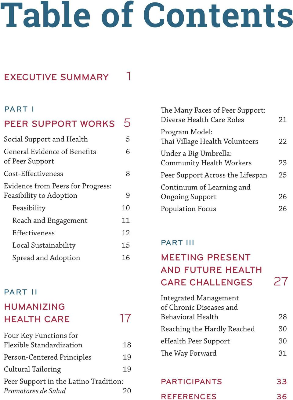 Standardization 18 Person-Centered Principles 19 Cultural Tailoring 19 Peer Support in the Latino Tradition: Promotores de Salud 20 The Many Faces of Peer Support: Diverse Health Care Roles 21