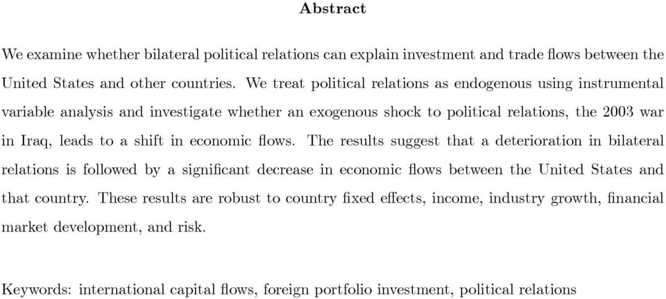 a shift in economic flows.