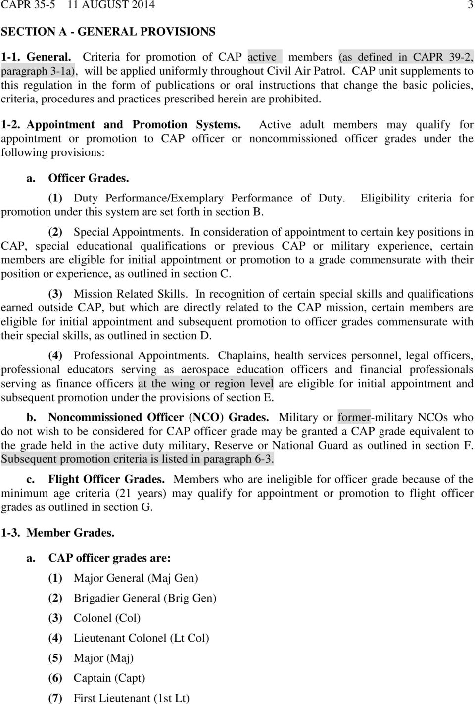 personnel procedures cap officer and noncommissioned officer cap unit supplements to this regulation in the form of publications or oral instructions that change