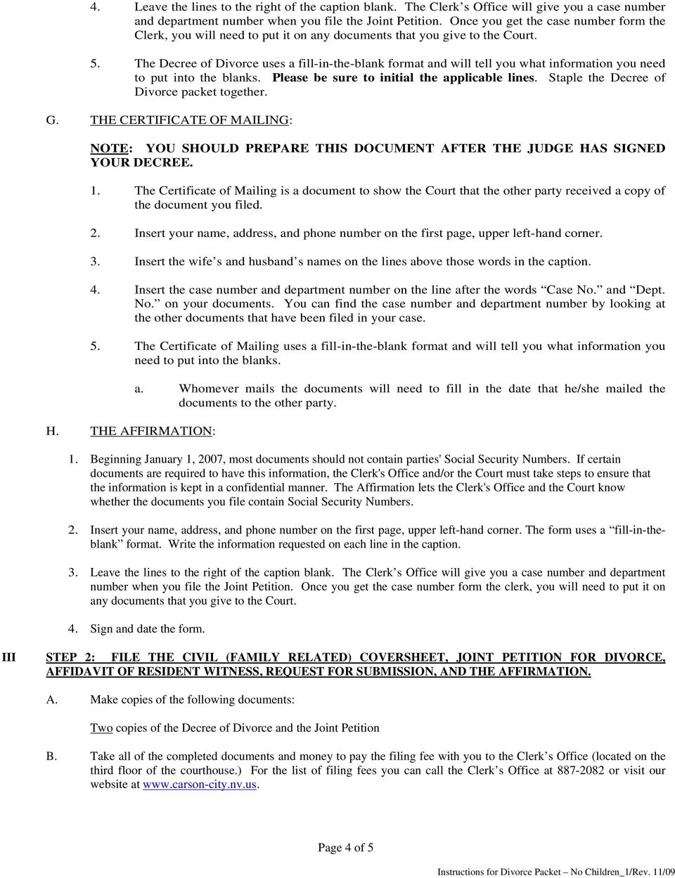 INSTRUCTIONS FOR JOINT PETITION FOR DIVORCE NO CHILDREN – Blank Divorce Decree