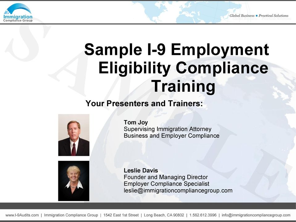 Business and Employer Compliance Leslie Davis Founder and Managing