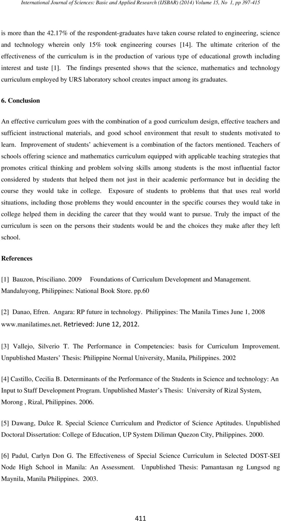research paper on curriculum development in the philippines
