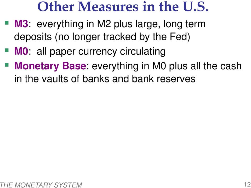tracked by the Fed) M0: all paper currency circulating Monetary