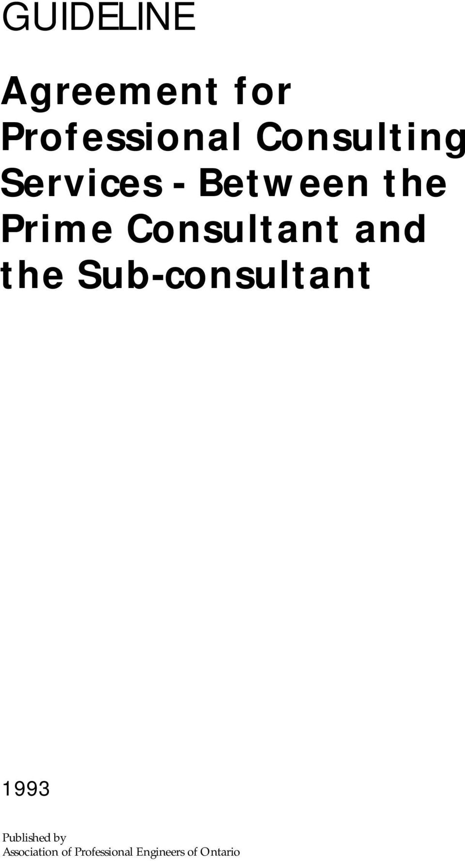 Agreement For Professional Consulting Services Between