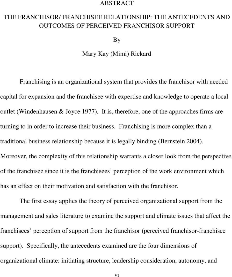 dissertation on franchising Perception of franchising in ireland dissertation submitted in part  fulfillment of the requirements for the degree of mbs at liverpool john moores.