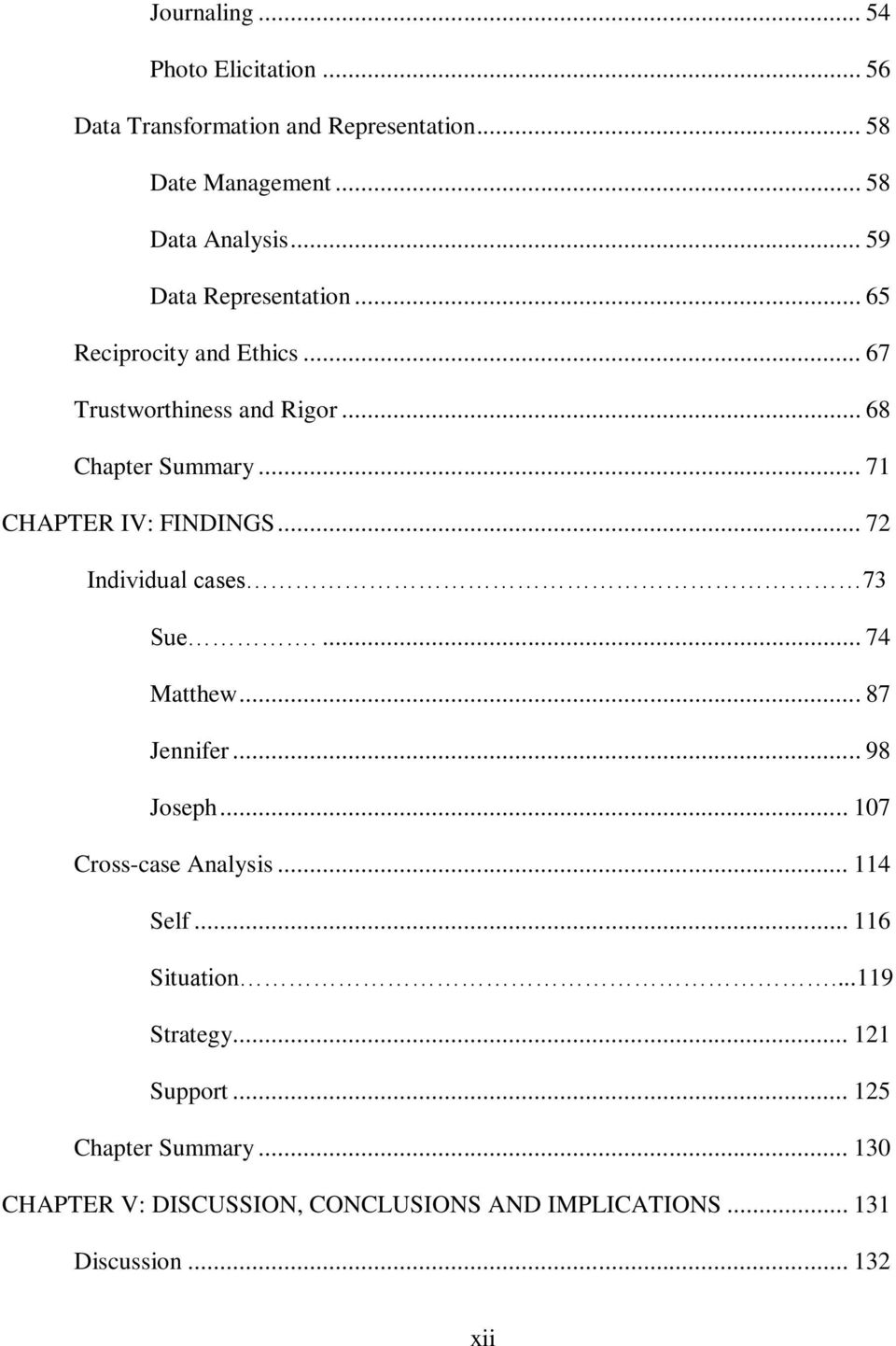 research findings chapter dissertation