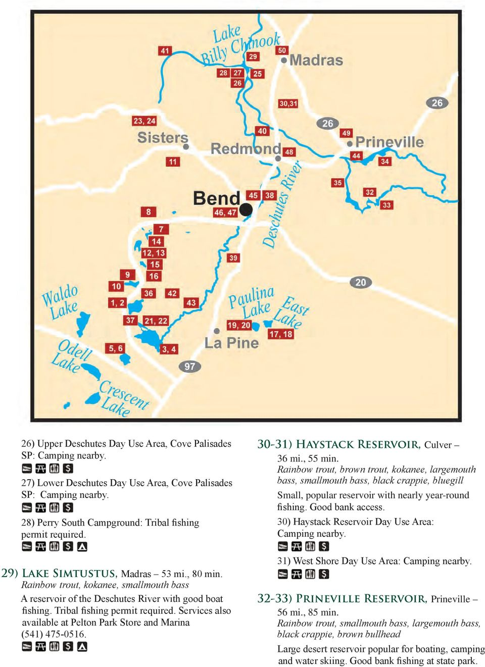 50 places 90 minutes to go fishing within of bend pdf for Prineville reservoir fishing
