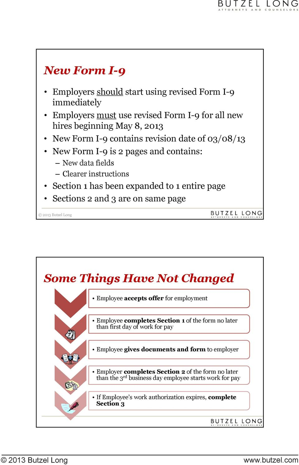 Things Have Not Changed Employee accepts offer for employment Employee completes Section 1 of the form no later than first day of work for pay Employee gives documents and form to