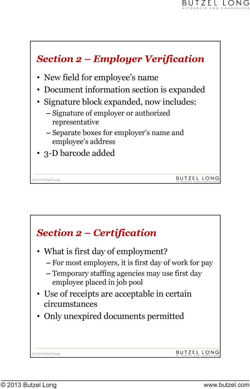 Section 2 Certification What is first day of employment?