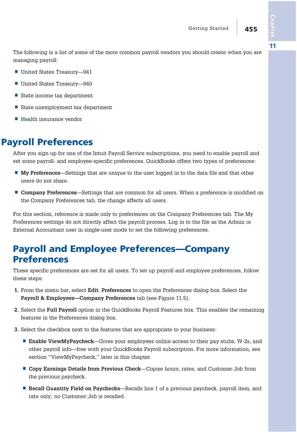 payroll and set some payroll- and employee-specific preferences.