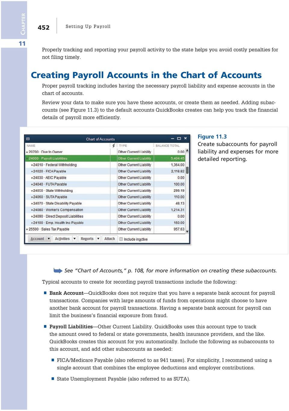 Review your data to make sure you have these accounts, or create them as needed. Adding subaccounts (see Figure.