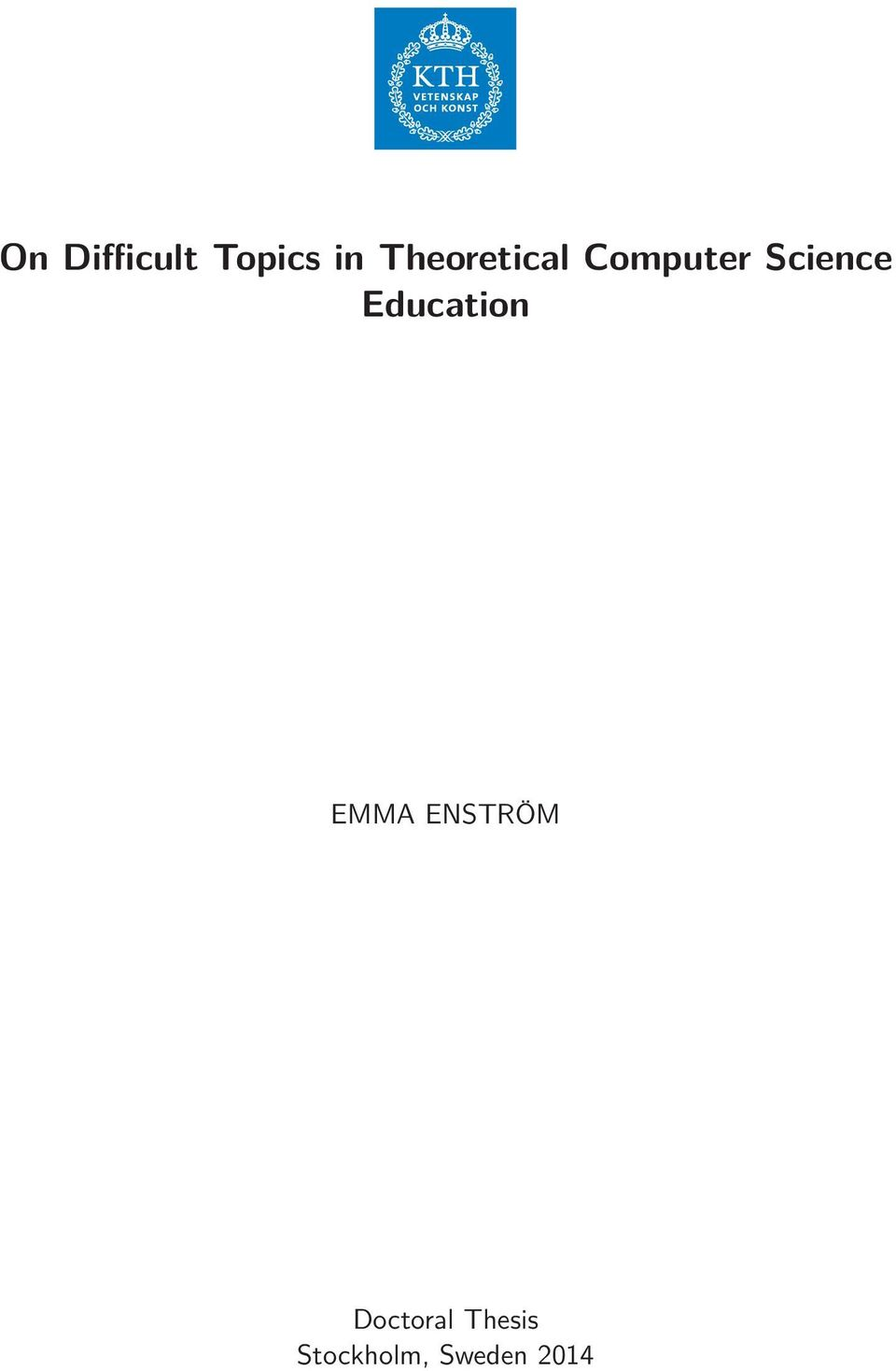 Thesis computer science education