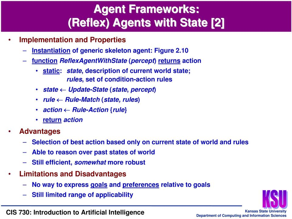(state, percept) rule Rule-Match (state, rules) action Rule-Action {rule} return action Advantages Selection of best action based only on current state of world and