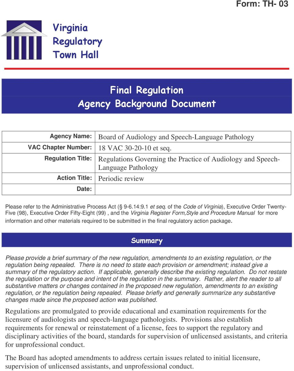 Form: TH- 03. Agency Name: VAC Chapter Number: Regulation ...