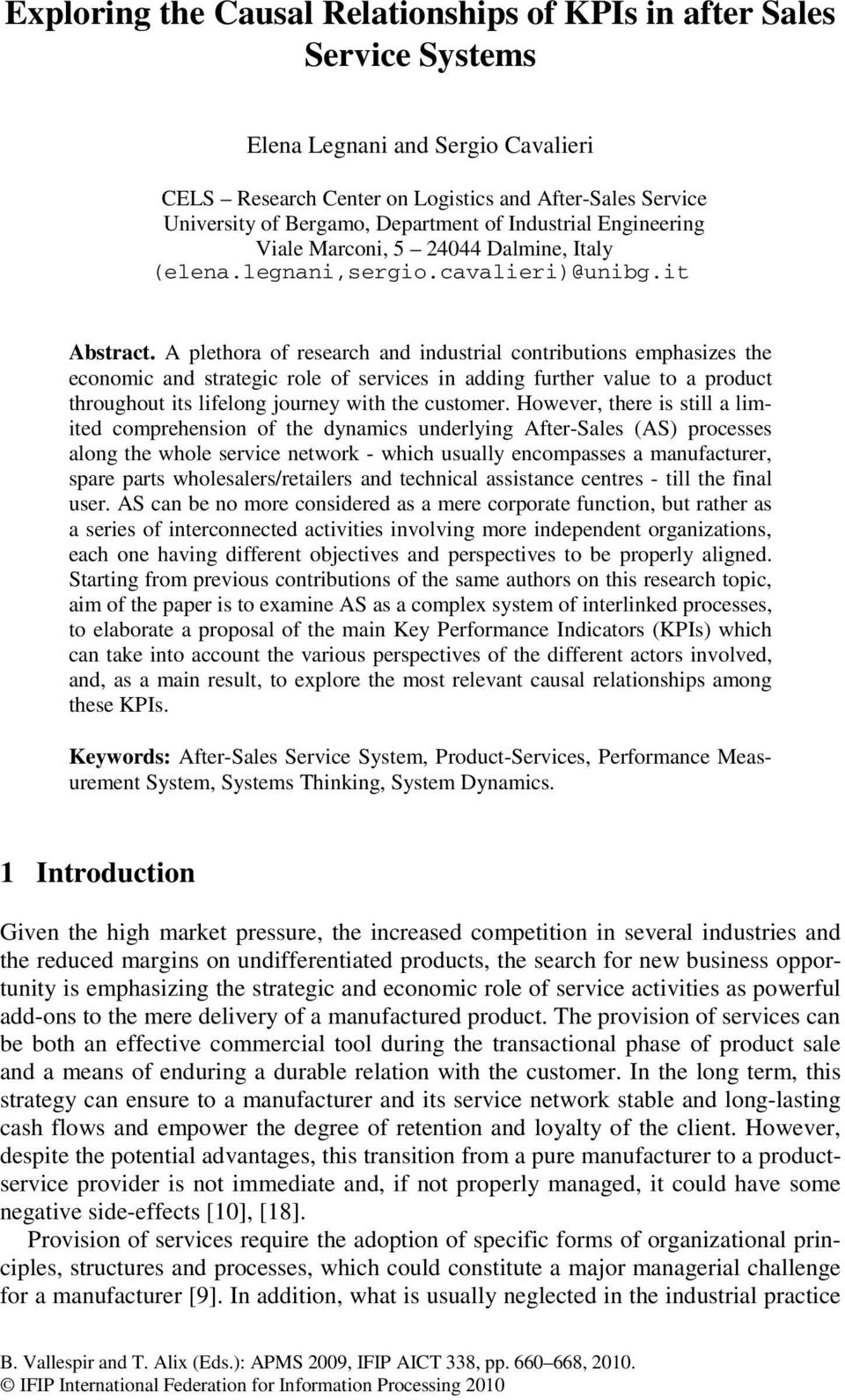 Research paper on after sales services