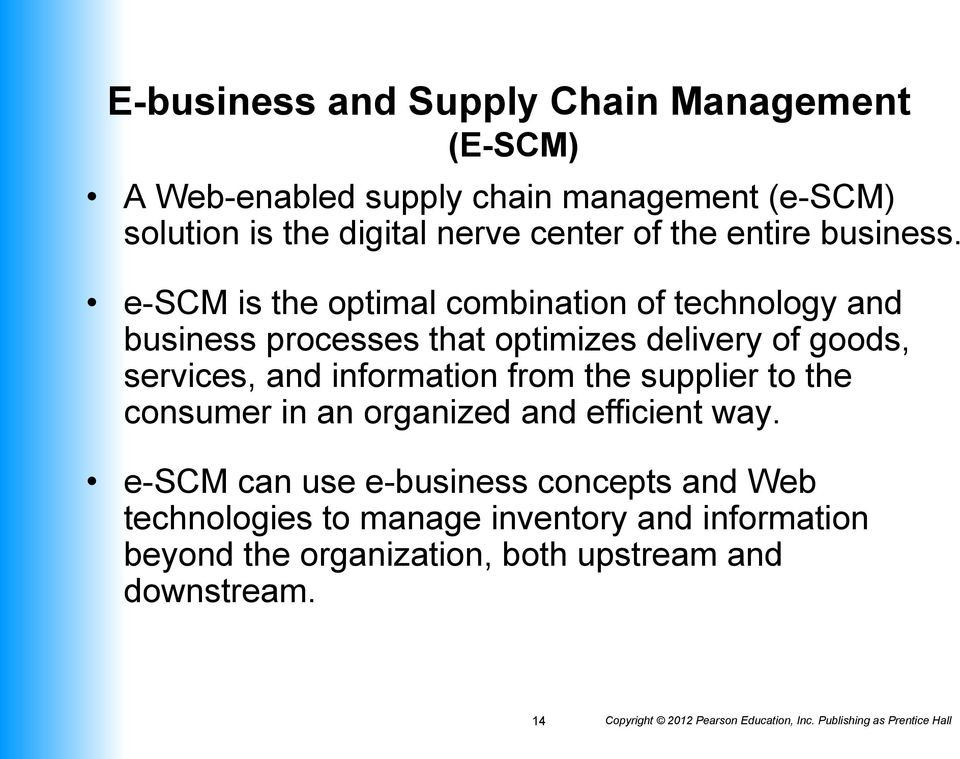 e-scm is the optimal combination of technology and business processes that optimizes delivery of goods, services, and