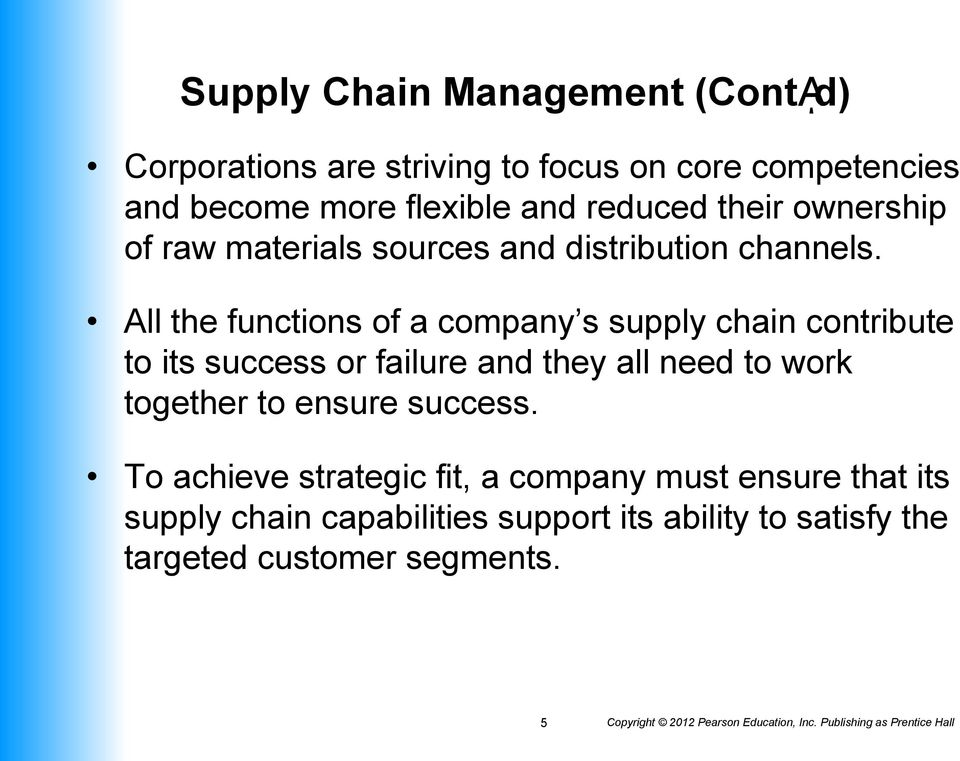 All the functions of a company s supply chain contribute to its success or failure and they all need to work together