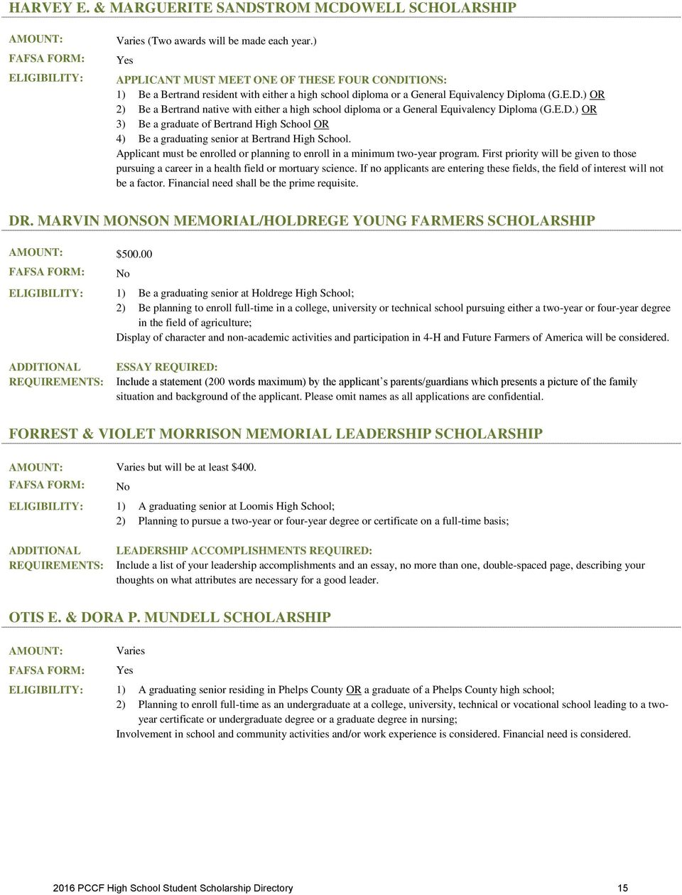 high school student scholarship directory pdf e d or 3 be a graduate of bertrand high school or 4 be