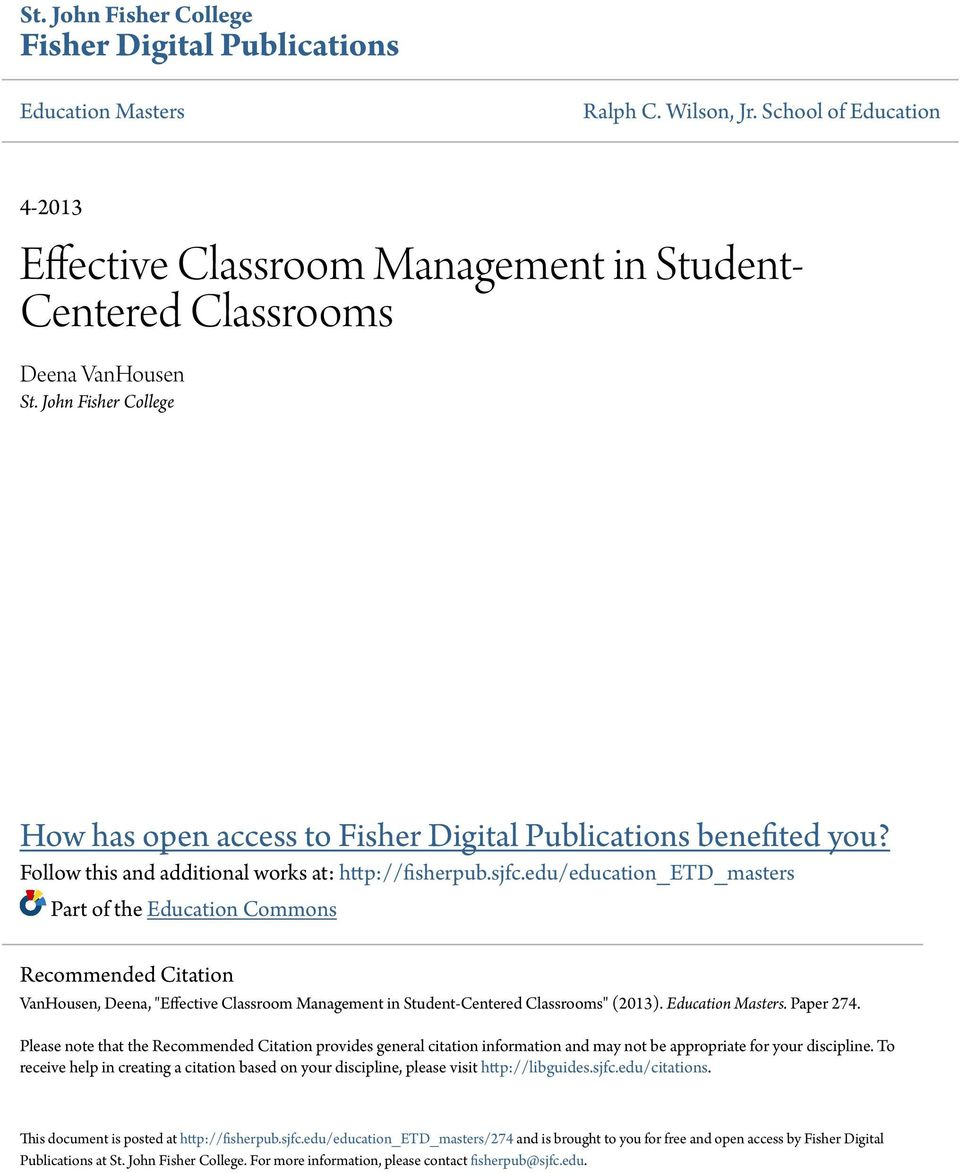research paper on effective classroom management