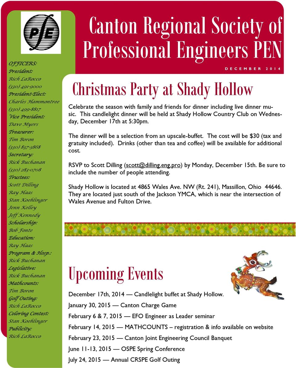 : Legislative: Mathcounts: Tim Boron Golf Outing: Coloring Contest: Stan Koehlinger Publicity: D E C E M B E R 2 0 1 4 Christmas Party at Shady Hollow Celebrate the season with family and friends for