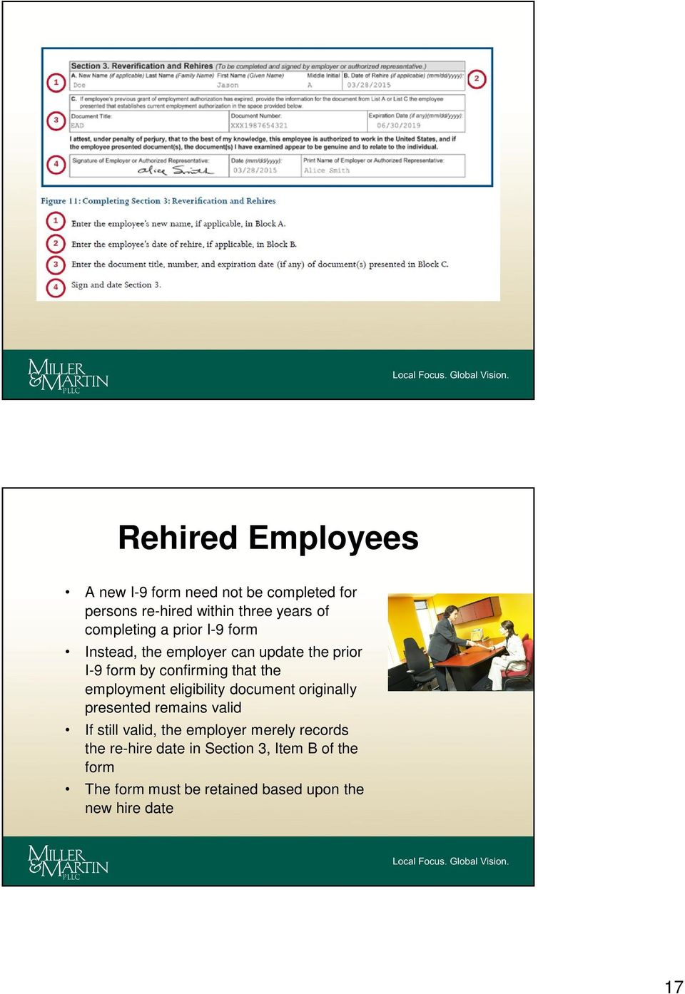 employment eligibility document originally presented remains valid If still valid, the employer merely