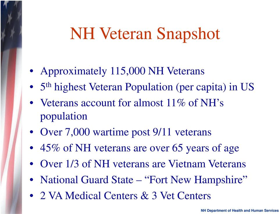 post 9/11 veterans 45% of NH veterans are over 65 years of age Over 1/3 of NH veterans