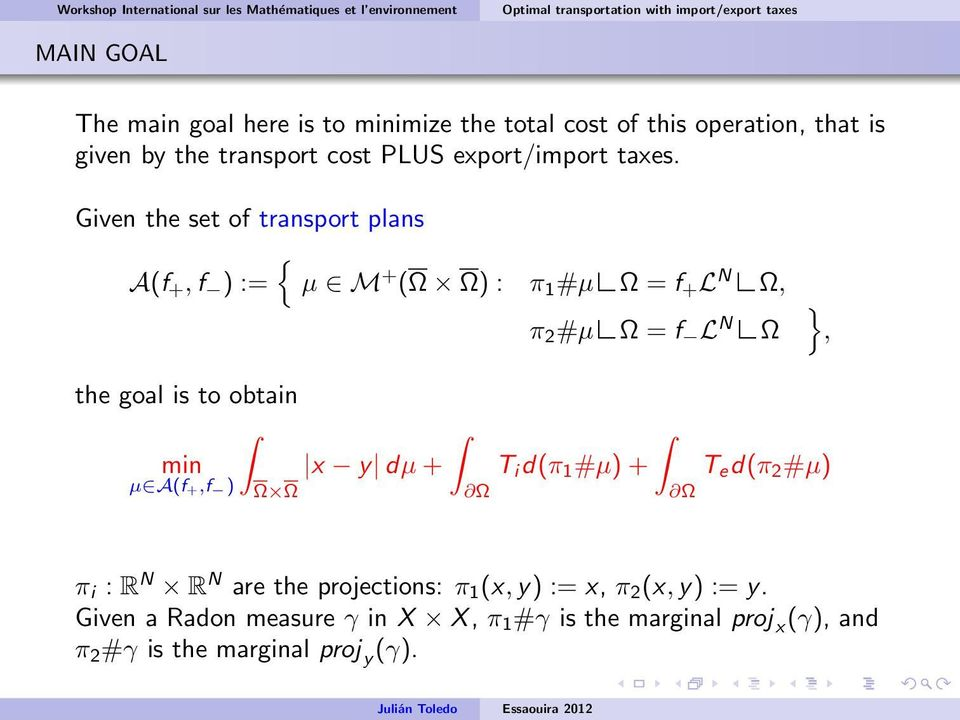 Given the set of transport plans { A(f +, f ) := µ M + ( ) : π 1 #µ = f + L N, π 2 #µ = f L N }, the goal is to obtain