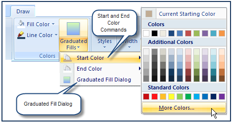 Choose the start color 13 Quick Start Tutorial Click on Draw > Colors > Graduated Fills>Start color. This opens the Color dialog. Click on Eyedropper & More.