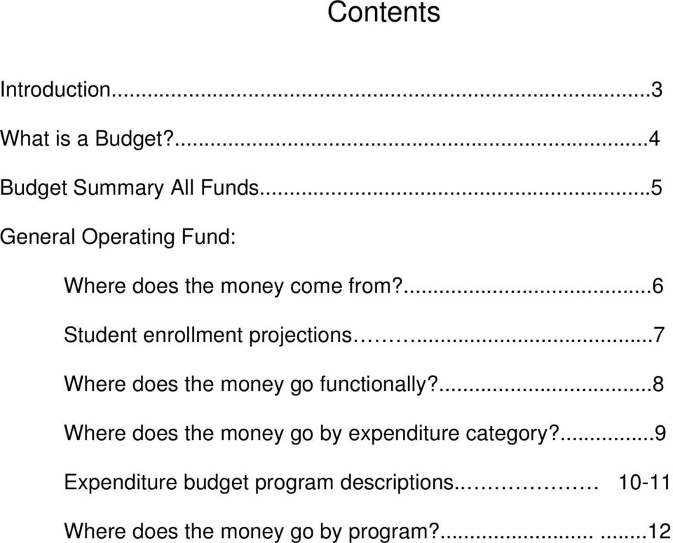 ...6 Student enrollment projections...7 Where does the money go functionally?