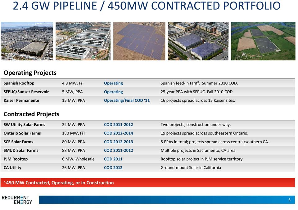 Contracted t dprojects SW Utility Solar Farms 22 MW, PPA COD 2011 2012 Two projects, construction under way.