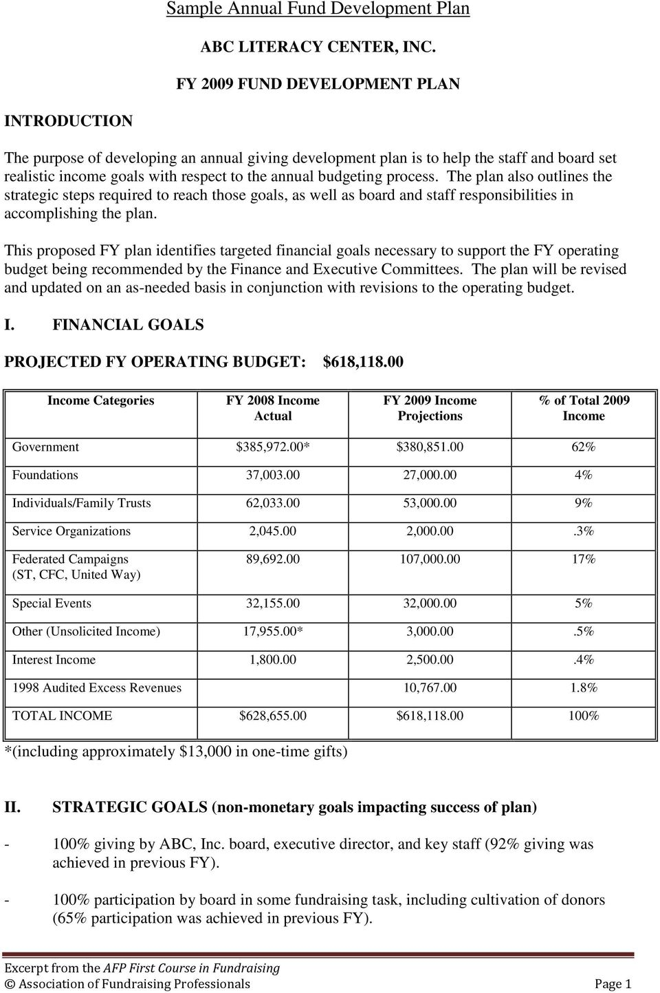 fund development plan template sample annual fund development plan pdf