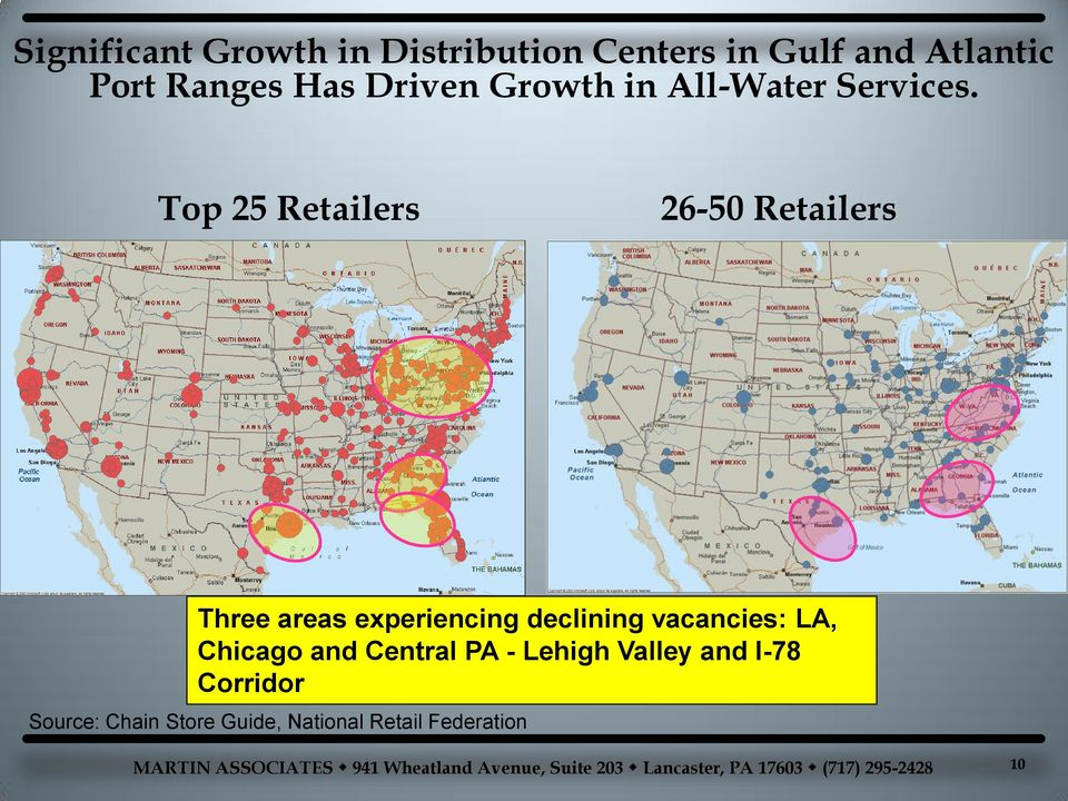 Top 25 Retailers 26-50 Retailers Three areas experiencing declining vacancies: