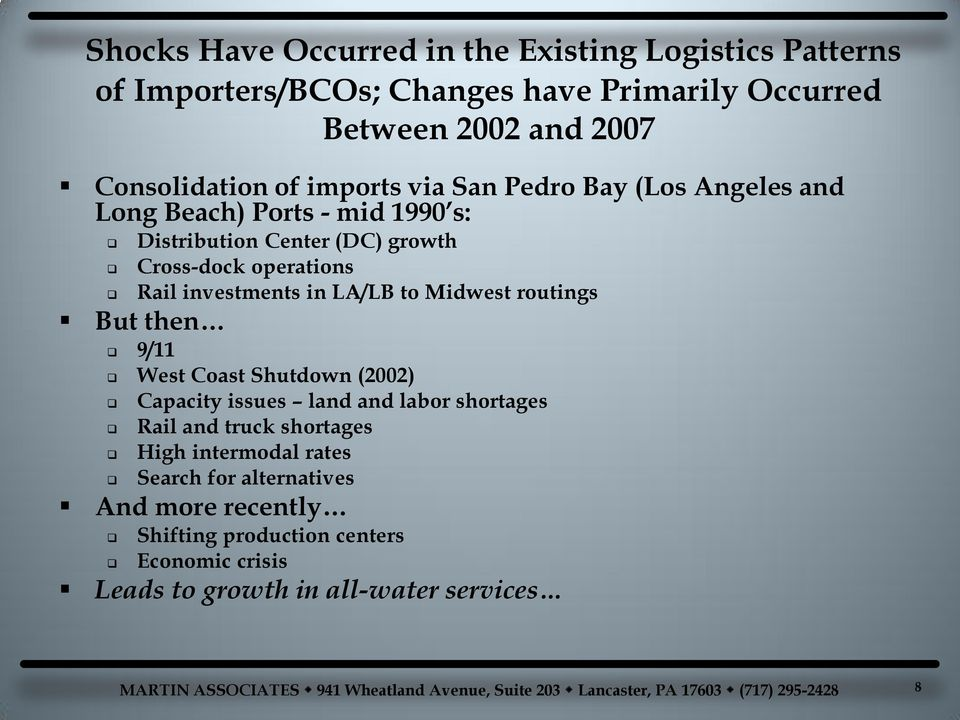 investments in LA/LB to Midwest routings But then 9/11 West Coast Shutdown (2002) Capacity issues land and labor shortages Rail and truck