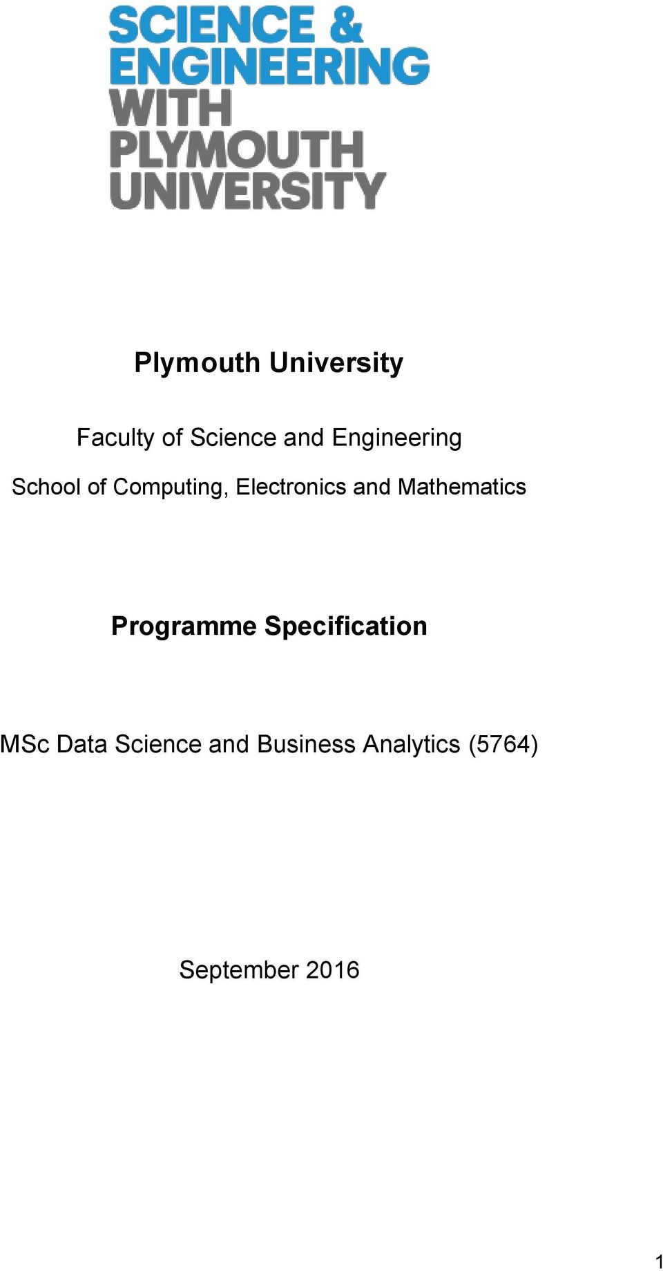 and Mathematics Programme Specification MSc