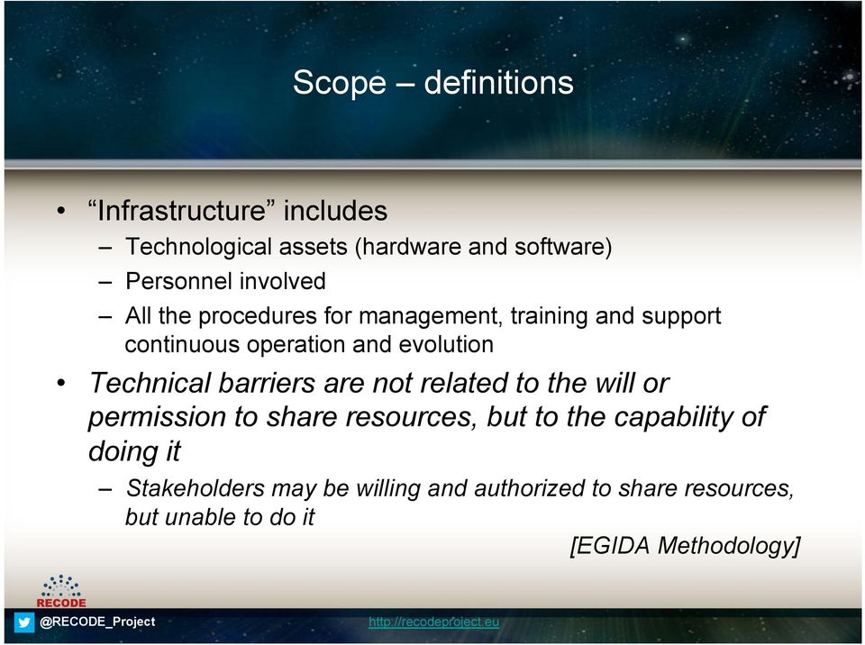 Technical barriers are not related to the will or permission to share resources, but to the capability