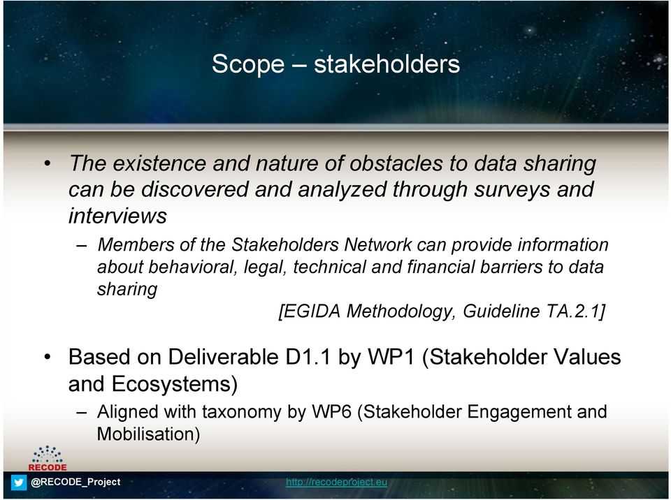 technical and financial barriers to data sharing [EGIDA Methodology, Guideline TA.2.1] Based on Deliverable D1.