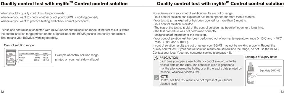 If the test result is within the control solution range printed on the strip vial label, the BGMS passes the quality control test. That means your BGMS is working correctly.