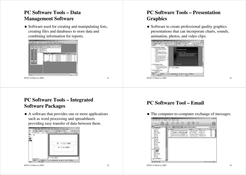 M7011 Peter Lo 2005 21 M7011 Peter Lo 2005 22 PC Software Tools Integrated Software Packages A software that provides one or more applications such as word processing and