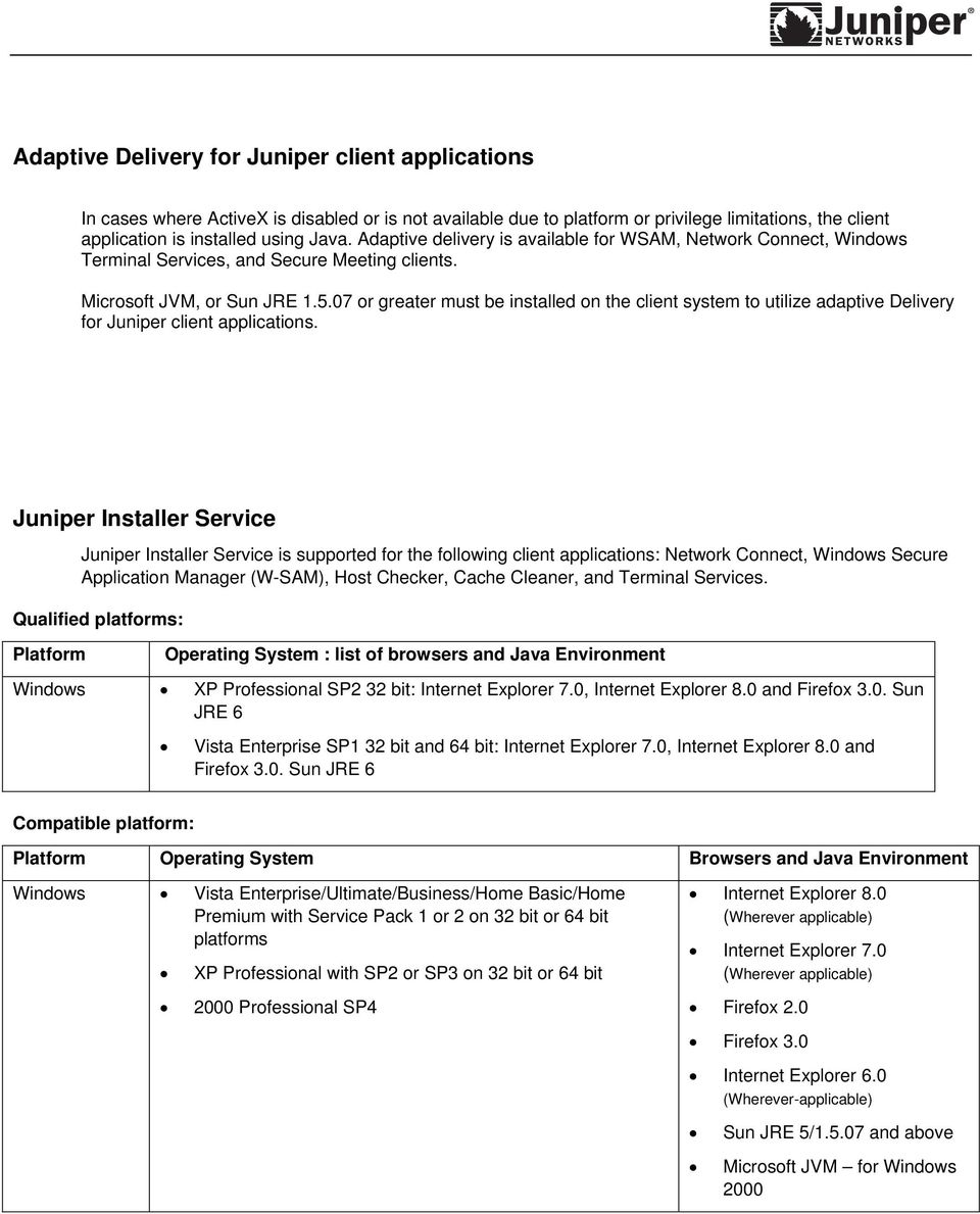 07 or greater must be installed on the client system to utilize adaptive Delivery for Juniper client applications.