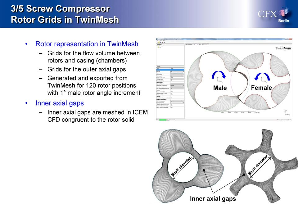 TwinMesh for 120 rotor positions with 1 male rotor angle increment Inner axial gaps Inner