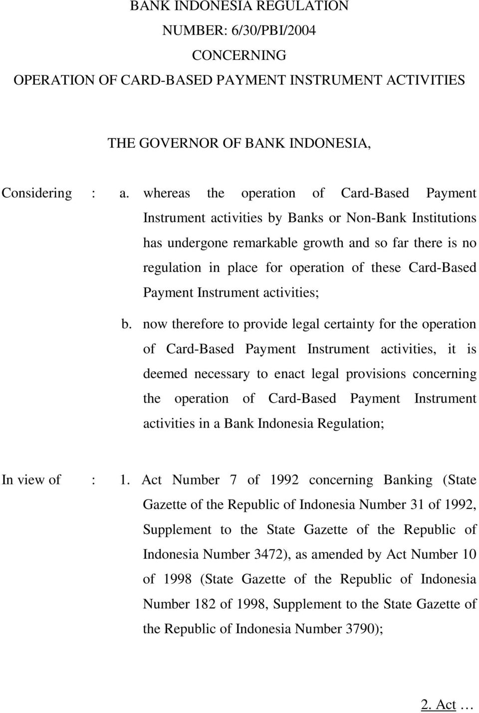 Card-Based Payment Instrument activities; b.