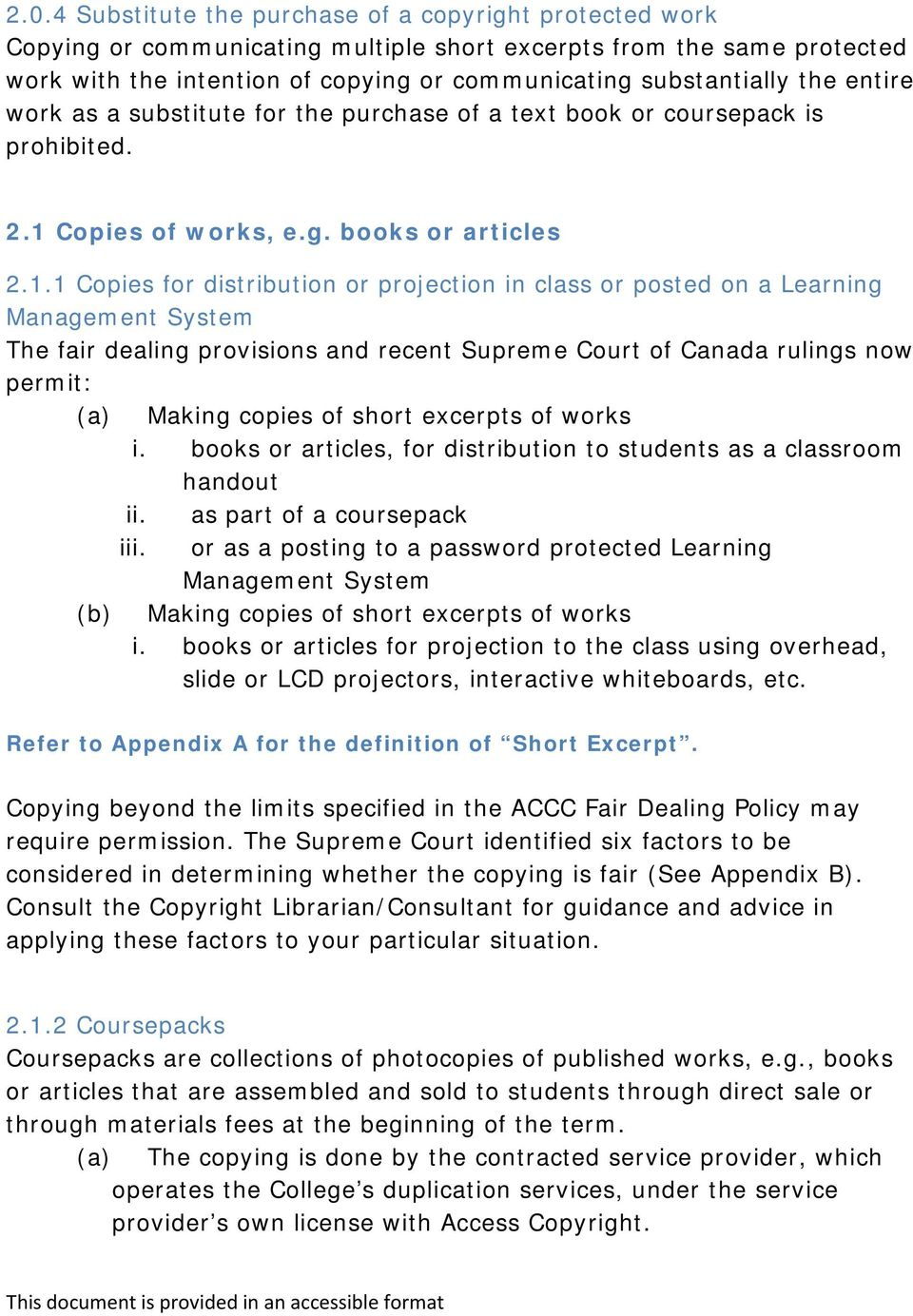 Copies of works, e.g. books or articles 2.1.
